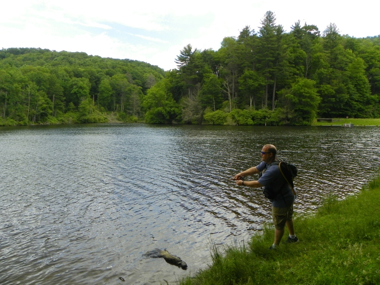 My friend and avid fly-fisherman Jimmy L. tries his luck at Trout Lake