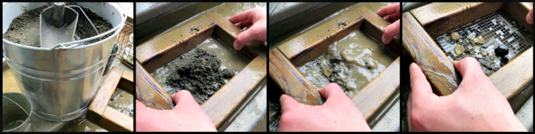 You start with a bucket of dirt, swirl it around your screen, and pluck out any gems that look interesting!