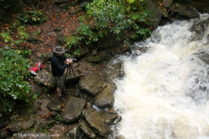 Neither rain, nor snow, nor crazy high rapids of the Boone Fork Creek shall stop an intrepid nature photographer!